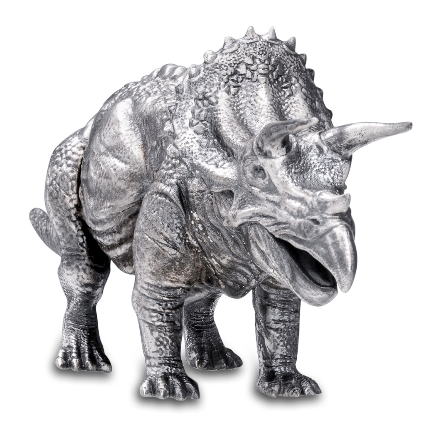 8 oz Silver Antique Statue - Triceratops